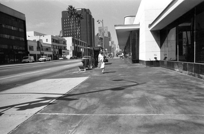 Woman walking alone in LA