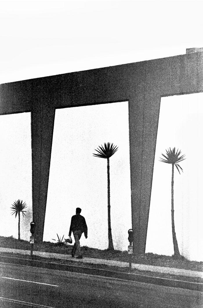 Silhouette walking alone in LA