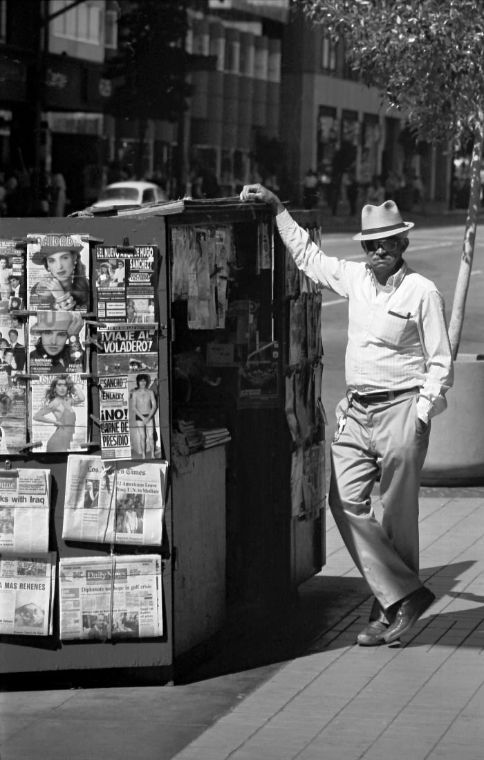 Newspaper vendor in downtown LA